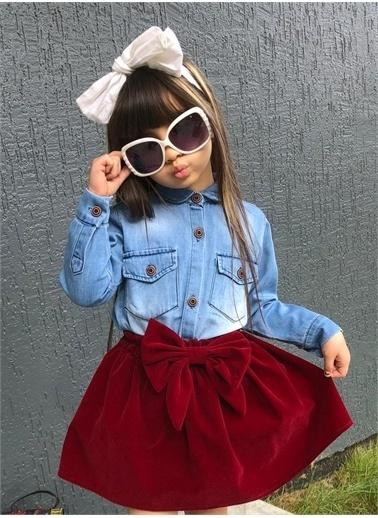 Riccotarz Kız Çocuk Kot Gömlek Süet Kırmızı Etekli Alt Üst Takım Renkli